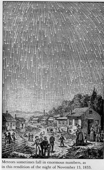 Depiction of historic meteor shower over Alabama