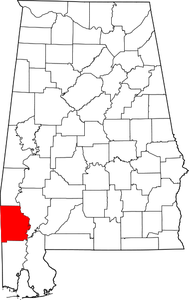 washington county, on alabama map