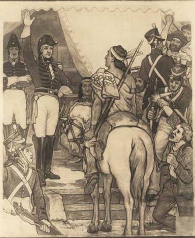 Mural by Roderick D. MacKenzie depicting the surrender of William Weatherford to Andrew Jackson