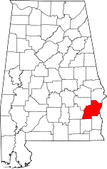 Alabama map showing Barbour County, Alabama