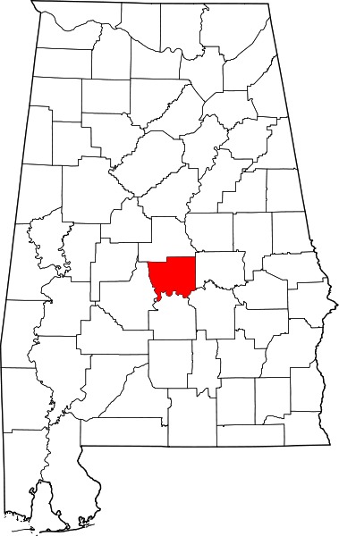 Location of Autauga County, Alabama