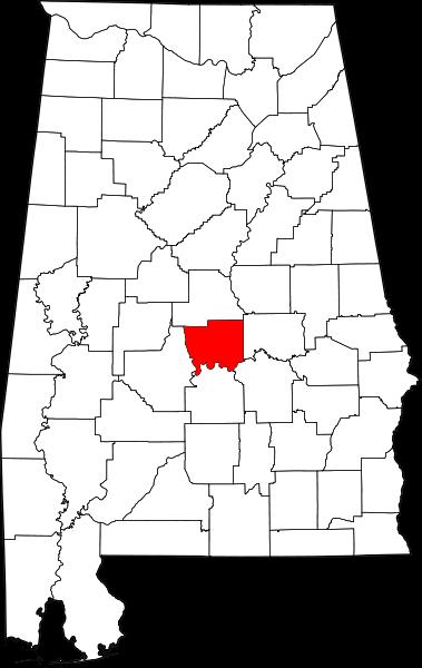 Location of Autauga County, Alabama