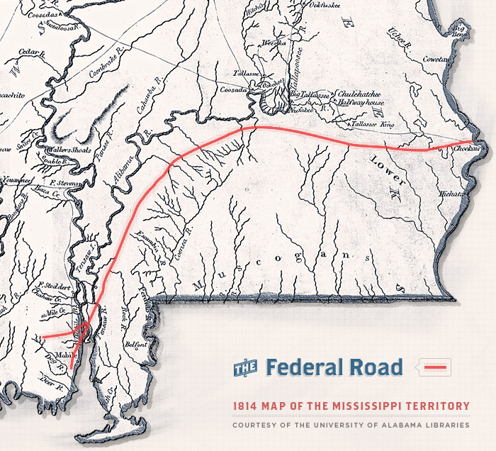 The Federal Road Was The State Of Alabamas First Interstate Do - Road map of alabama