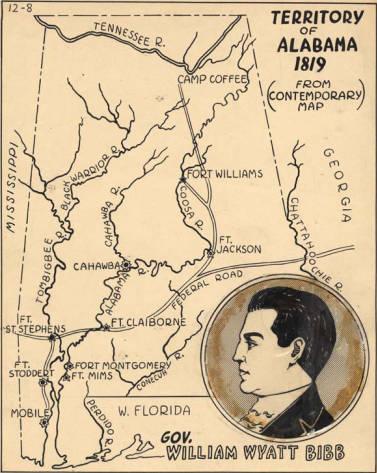 1819 map showing territory of Alabama