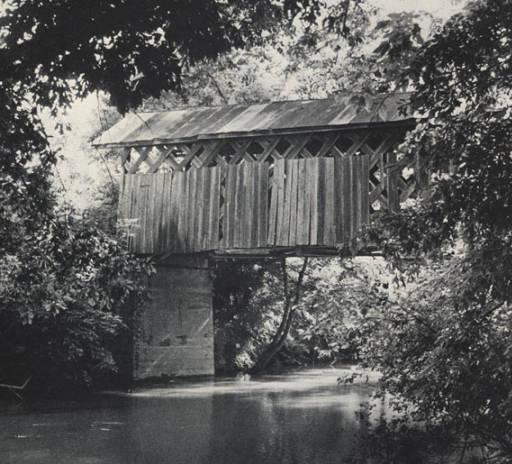 Tallahatchee covered bridge near Alexandria in Calhoun County, Alabama ca. 1970