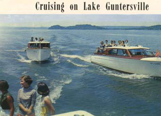 "Guntersville Lake, Guntersville, Ala., is fast becoming one of the most popular recreation areas in the country. Many famous resorts, such as Val-Monte Shores, are nearby."" The postmark date on the back of this postcard is September 1958."