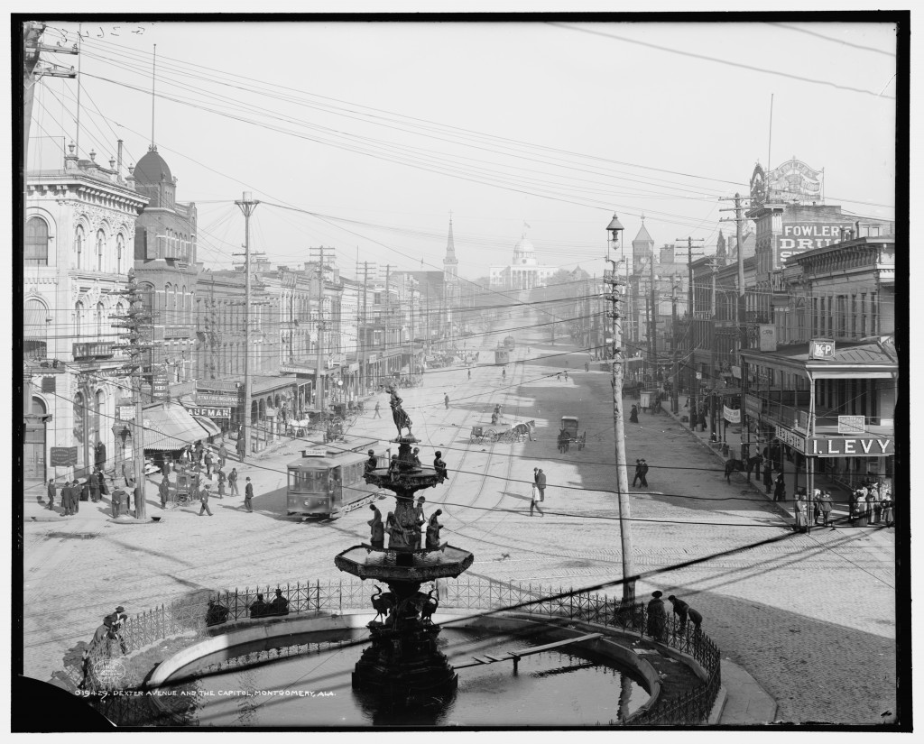 Dexter Avenue and the Capitol, Montgomery, Ala. showing electric streetcars