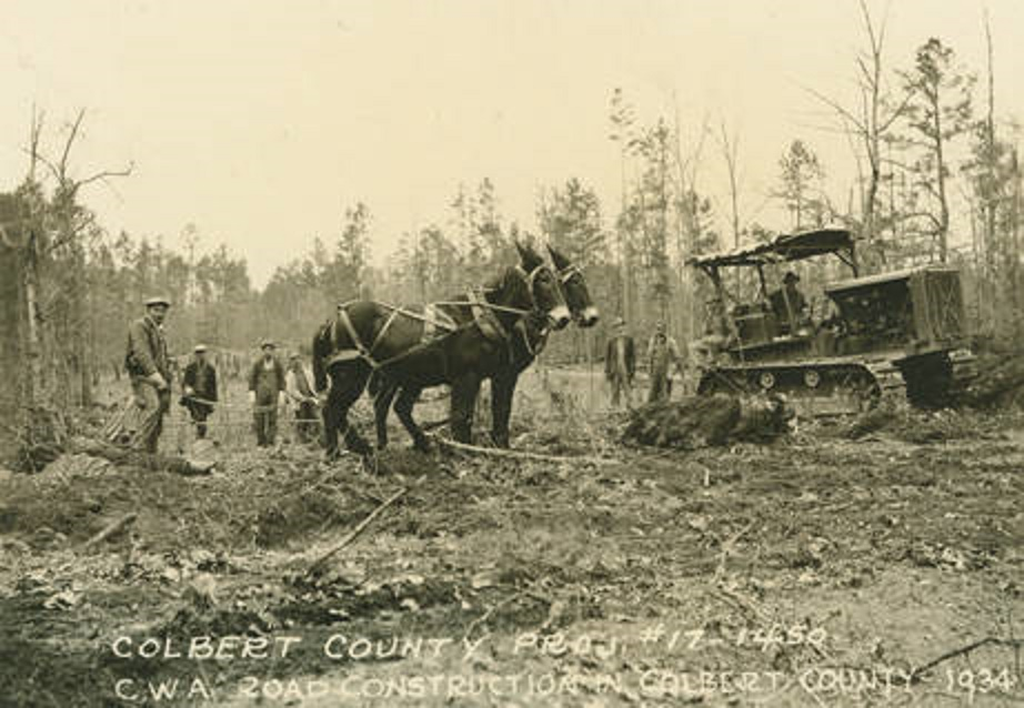 Road Construction project in Colbert County, Alabama ca. 1930s (Alabama Department of Archives and history)2