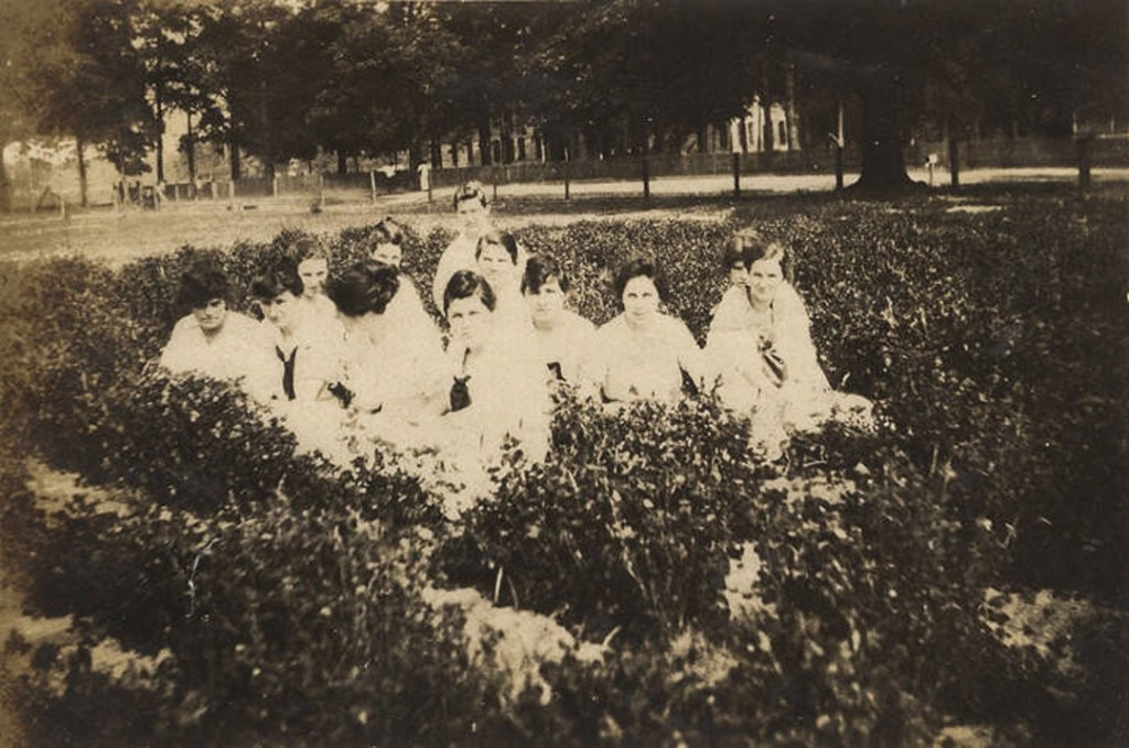 Several students on the campus of the Downing Industrial School Girls in Brewton, Alabama