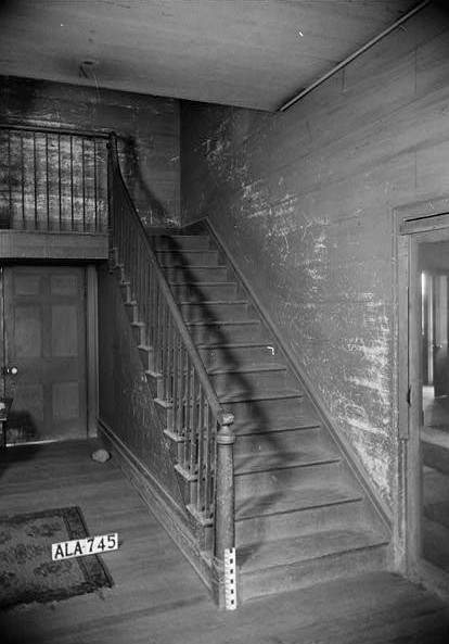 July 28, 1936 VIEW TO SOUTH OF HALL SHOWING STAIR - Sturdivant-Moore-Hartley House, Centenary & Main Streets, Summerfield, Dallas County, AL