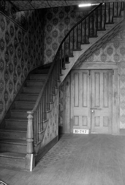 March 23, 1934. HALL STAIRS. - Moore House, Persimmon Street, Summerfield, Dallas County, AL