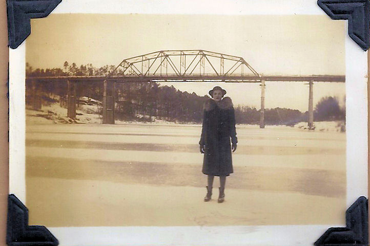 Sara Jo Hamilton standing on the Warrior River in Alabama in 1940