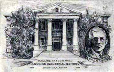 Sketch of Pauline Taylor Hall at the Downing Industrial School for Girls in Brewton, Alabama, and of Dr. J. M. Shofner, the school's founder.