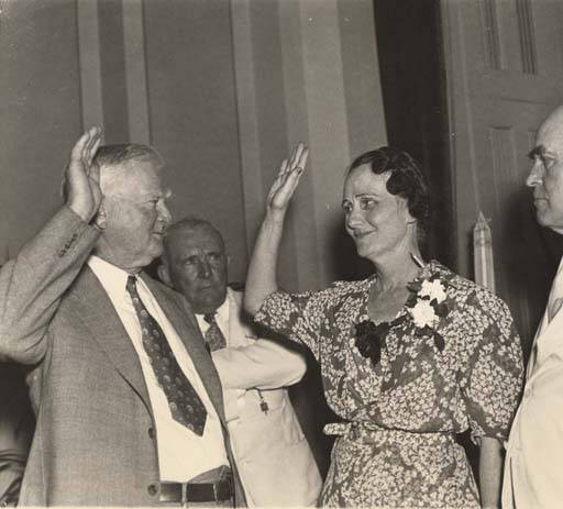 Dixie Bibb Graves being sworn in as U. S. Senator