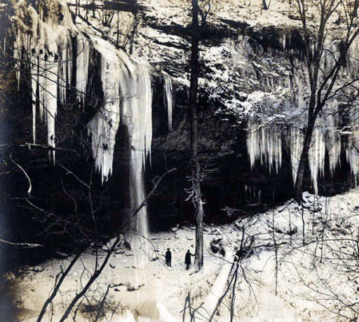 Frozen waters of Falling Rock Falls near Montevallo, Alabama.