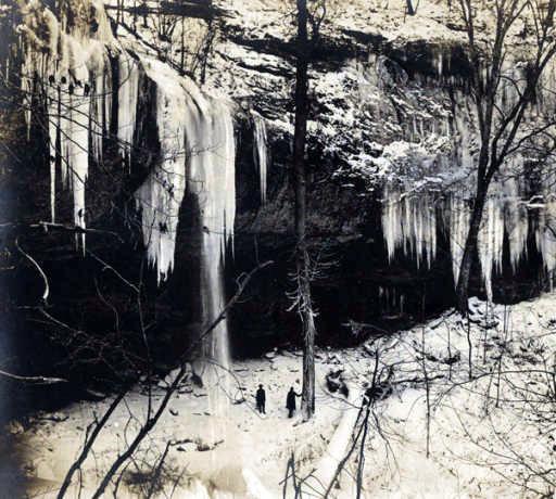 Frozen waters of Falling Rock Falls near Montevallo, Alabama.