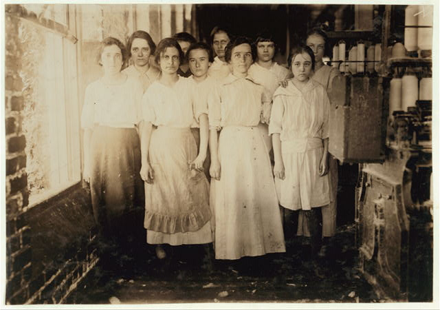 Typical workers in Barker Cotton Mills where good conditions prevail ca 1930