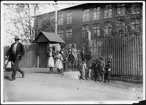 Workers at Merrimac Mills, Huntsville, Alabama - coming out at noon