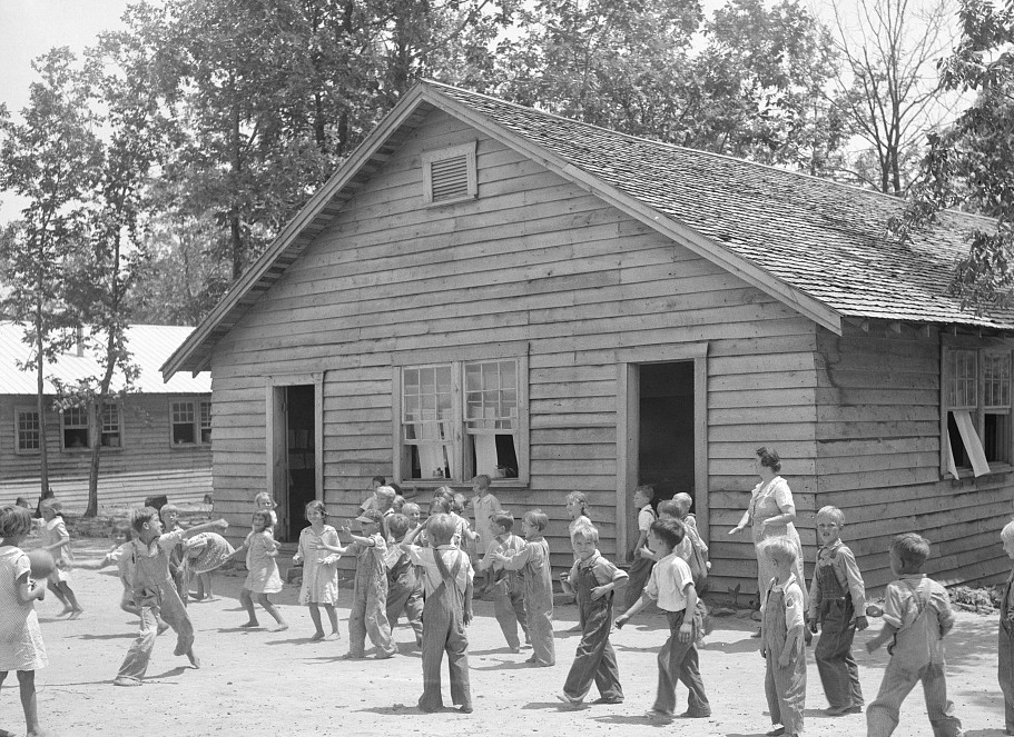 Could you sit on these hard benches with no backs for long hours in school? [1936 Photographs & film] – Skyline Farms – Part 4 –