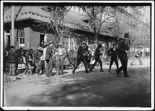 Closing time at Dallas Mill, Huntsville, Alabama Nov. 1910 by Lewis Hines