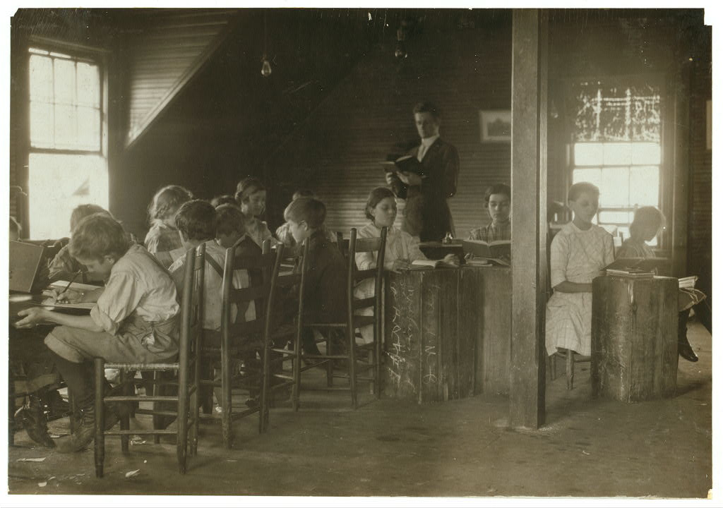 school -under stairs - Merrimack mills - hine dec. 1913