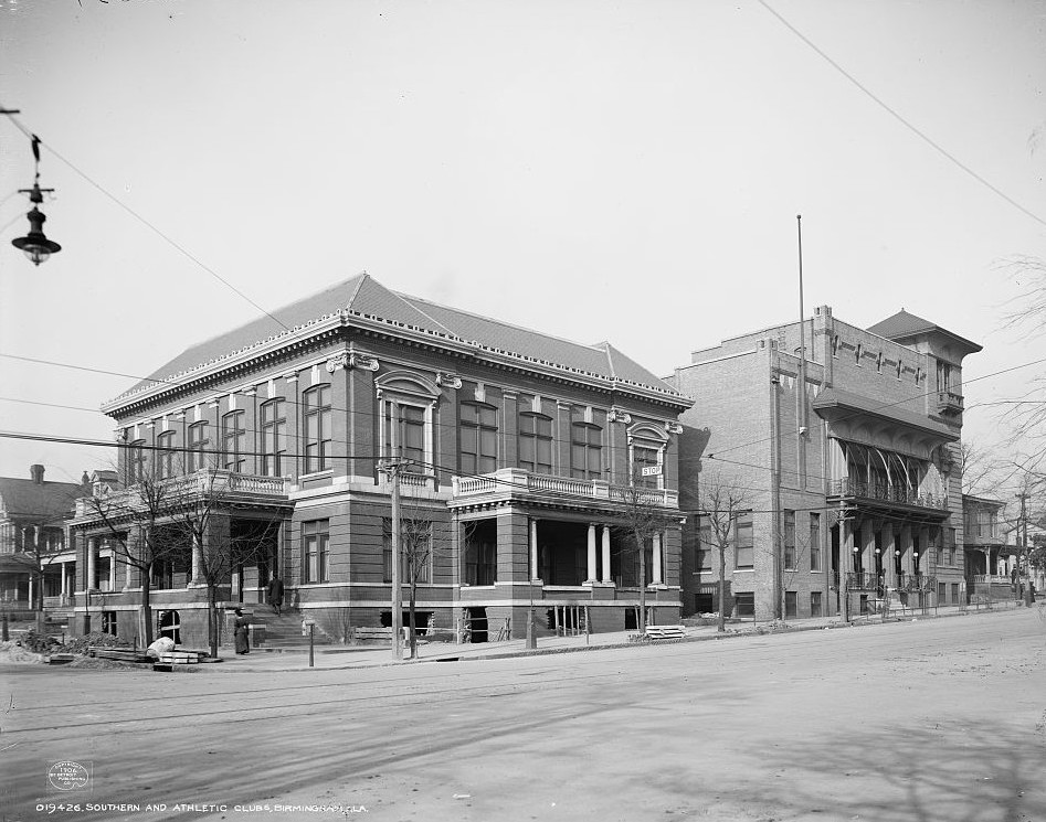 Birmingham, Southern and Athletic Clubs, 1906 taken by Detroit Publishing Company