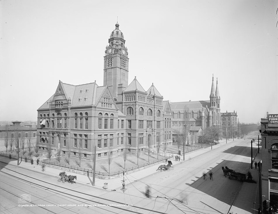 Birmingham 1906, Jefferson County courthouse and St. Paul's Church - photo taken by Detroit Publishing Company