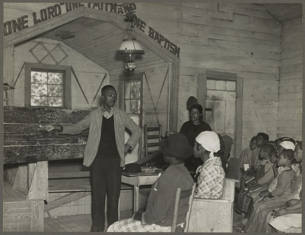 Gee's Bend conducting school in the church 1937