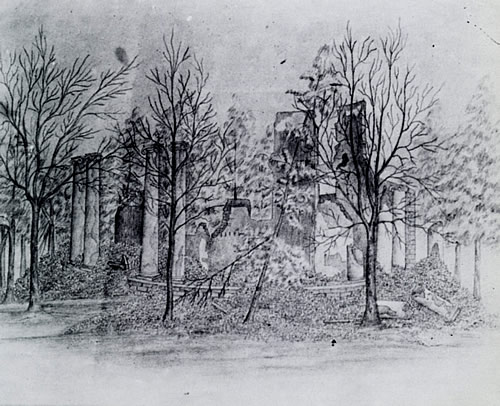 Rotunda ruins sketched in 1866 by Eugene Allen Smith, former cadet and instructor of tactics (from scvtuscaloosa.org)