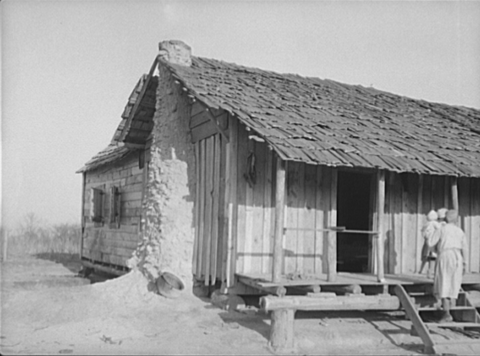 cabin with mud chimney 1937