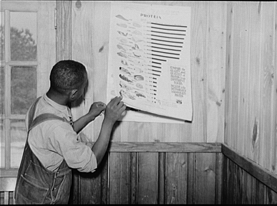 1939 Clay Coleman shows interest in food chart while waiting in clinic. Gee's Bend, Alabama