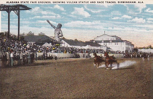 fairgrounds racing postcard