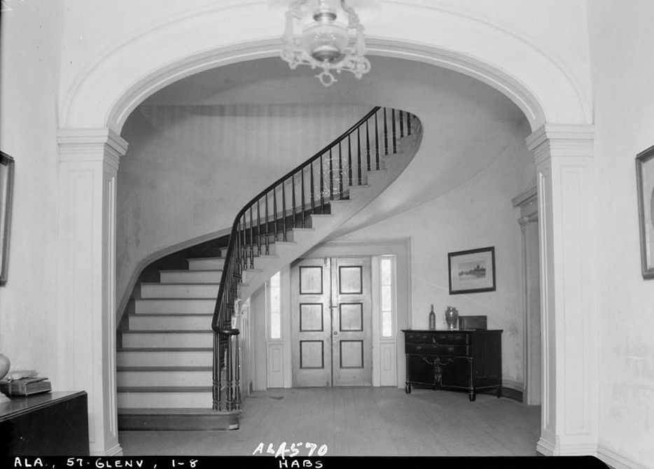 glennville plantation7 HALL ARCH AND STAIRWAY TOWARD REAR, W. - Elmoreland