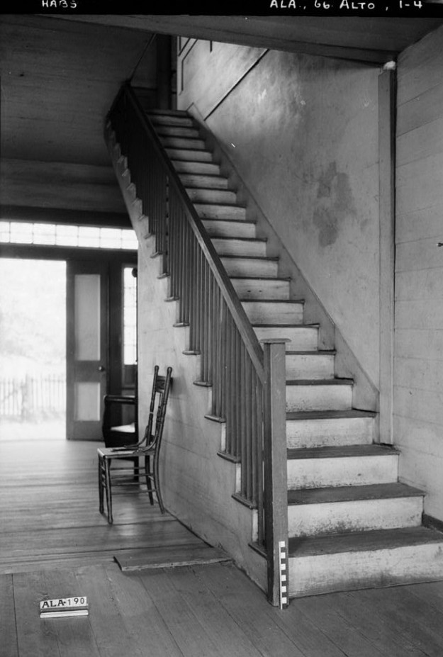 Alex Bush, Photographer, March 23, 1937 STAIR ON NORTH WALL OF HALL - Joshua B. Grace House & Outbuildings, County Road 24, Allenton, Wilcox County, AL