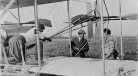 Amazing film of Theodore Roosevelt flying with Arch Hoxsey in Wright Brothers plane that was in Montgomery