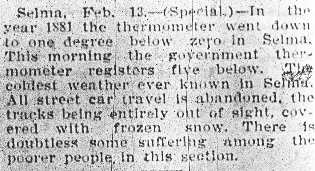 Selma Al 1881 news about cold weather