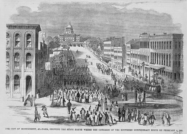 The city of Montgomery, Alabama, showing the state house where the congress of the Southern Confederacy meets on February 4, 1861