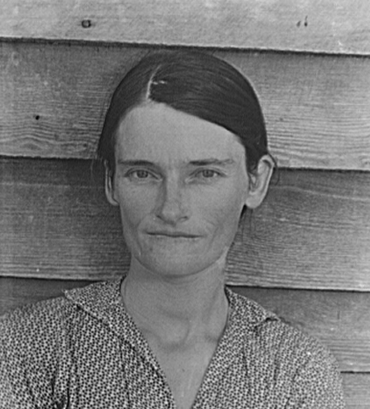 Allie Mae Burroughs, wife of cotton sharecropper. Hale County, Alabama by Evans Walker