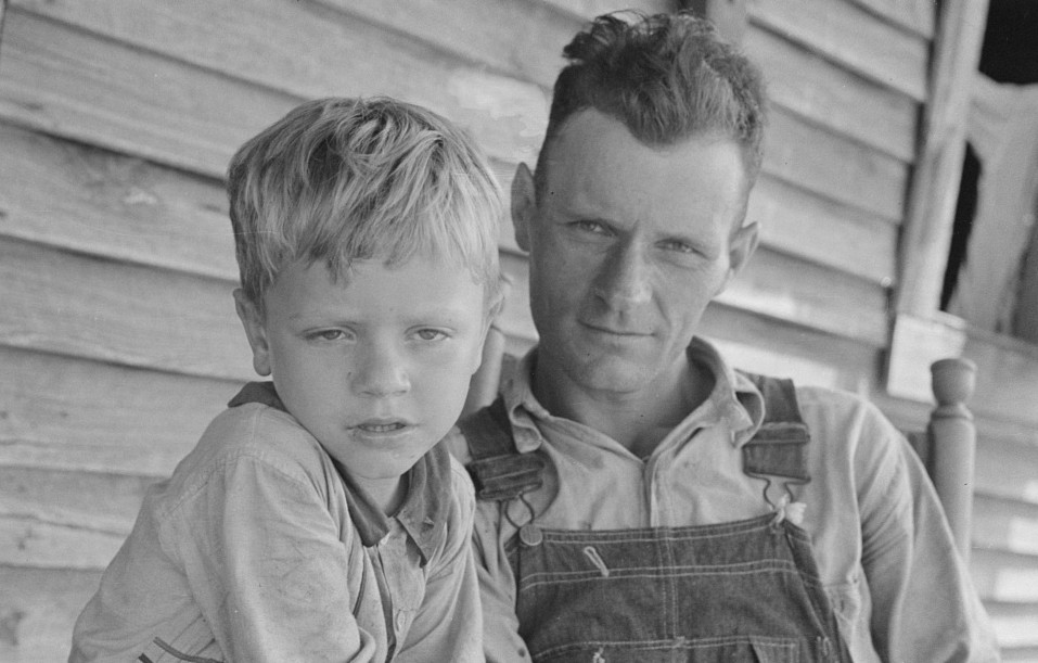 Charles and his father Floyd Burroughs, Alabama cotton sharecropper summer 1936 by photographer Evans Walker