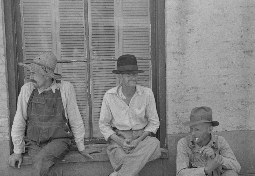 Frank Tengle, Bud Fields, and Floyd Burroughs, cotton sharecroppers, Hale County, Alabama 1936 by Walker Evans