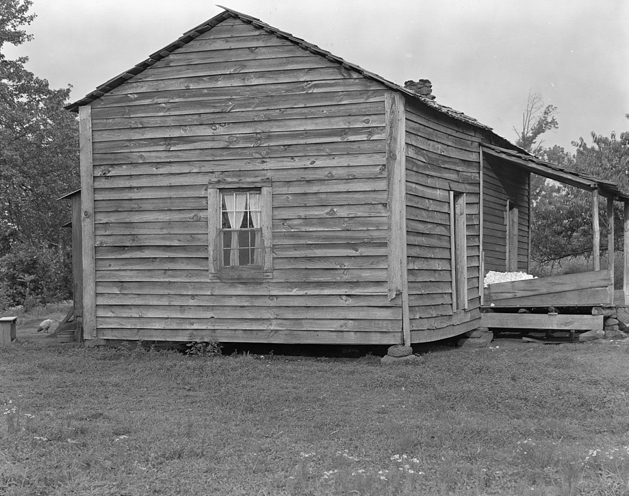 Home of Bud Fields, Alabama sharecropper. Hale County, Alabama 1935 by Walker Evans