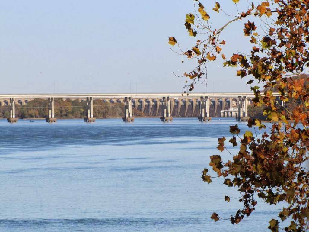 From railroad bridge at singing river bridge and dam