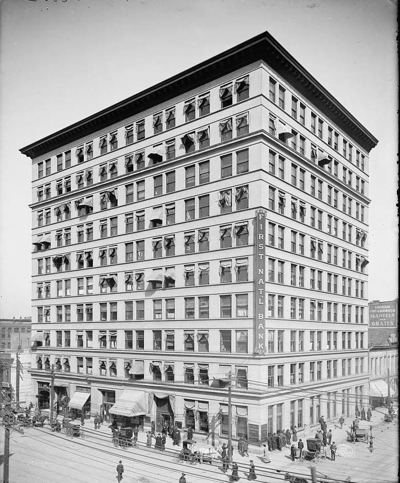 Birmingham 1st National Bank 1906 photo taken by Detroit Publishing Company