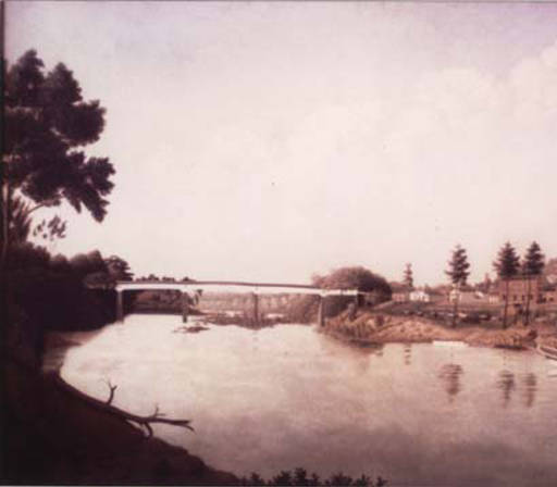 painting covered bridge coosa wetumpka 1847 ala state archives