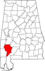 Alabama-map-showing-Clarke-County