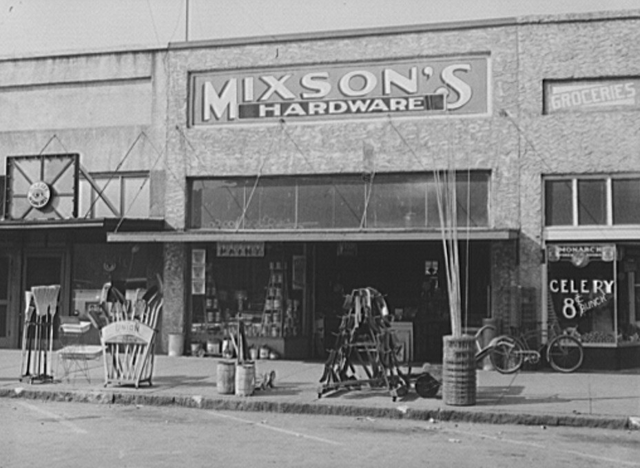 Front of hardware store. Enterprise, Alabama by photographer Marion Post Wolcott spring 1938