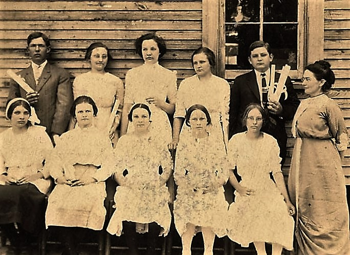 Graduating class at Haw Ridge Rural School in Dale County, Alabama - ca. 1900 - Principal Mrs. Read stands on the right (Alabama Department of Archives and History)