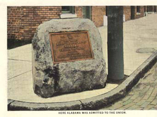 Here Alabama was admitted to the Union stone