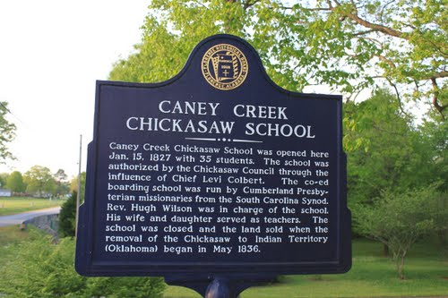 caney creek chickasaw school marker