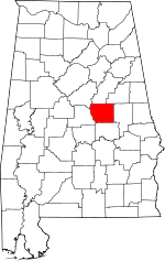 Alabama-map-showing-Coosa-County